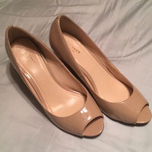 Cole Haan peep toe wedges size 8